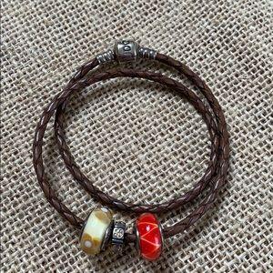 Pandora Jewelry - ✨  sale✨Pandora leather bracelet with charms